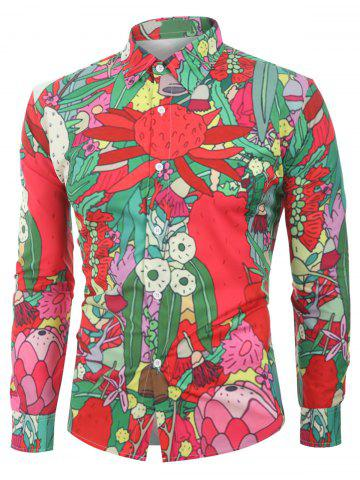 Floral Plant Printed Full Sleeves Shirt