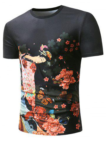Flower Butterfly Fan Anicent Beauty Print Short Sleeve T-shirt