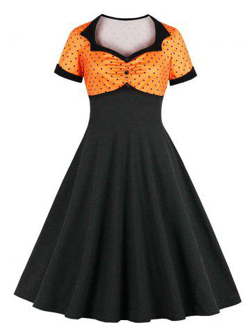 Polka Dot Cuffed Fit and Flare Vintage Dress