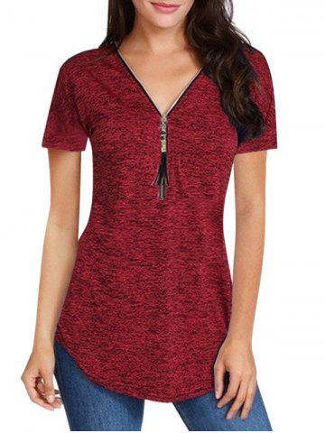 Zip Front Fringed Space Dye V Neck Tee