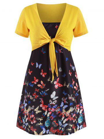 Butterfly Print Cami Dress with Plunging T-shirt