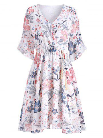 Floral Flare Sleeve Chiffon Dress