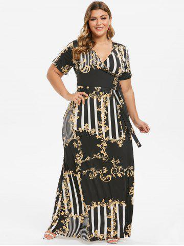 Plus Size Tribal Print Maxi Surplice Dress