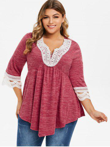 Plus Size Lace Crochet Marled Tunic T-shirt