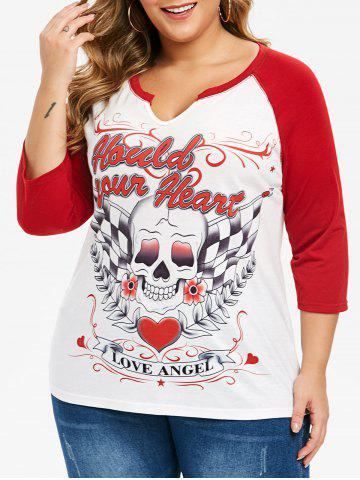 Plus Size Skull Print Graphic Baseball T-shirt