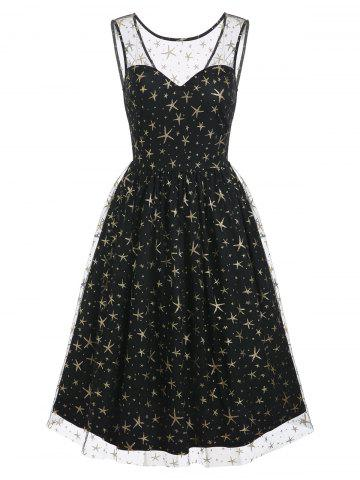 Sequins Star Mesh Overlay Party Dress