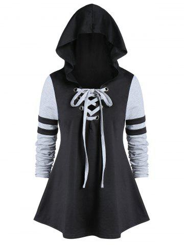Plus Size Tunic Hooded Two Tone T Shirt