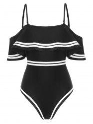 Contrast Piping Flounce Padded One-piece Swimsuit -