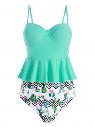 Cactus Print Zigzag Push Up Tankini Swimsuit -
