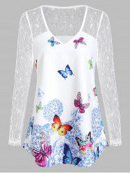 Butterfly Print V Neck See Thru T Shirt -