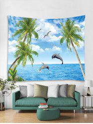 Seaside Dolphin Tree 3D Print Wall Tapestry -