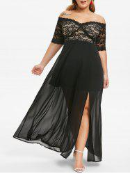 Plus Size Lace Panel Slit Off Shoulder Prom Dress -