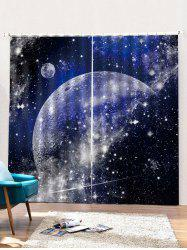 2PCS Starry Sky Pattern Printed Window Curtains -