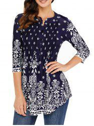 Pleated Placket Printed Tunic Top -