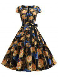 Butterfly Floral Belted Notched Vintage Dress -