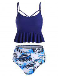 Leaf Print Ruched Lace-up Tankini Swimsuit -