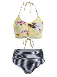 Ruched Floral Striped Lace-up Halter Bikini Swimsuit -