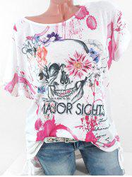 Plus Size Cinched Floral Skull Print Graphic T-shirt -