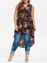 High Low Button Up Floral Plus Size Blouse -