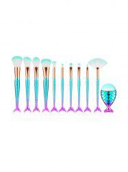 11Pcs Mermaid Ombre Makeup Powder Brush Set -