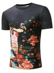 Flower Butterfly Fan Anicent Beauty Print Short Sleeve T-shirt -