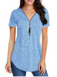 Zip Front Fringed Space Dye V Neck Tee -