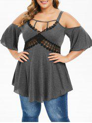 Plus Size Open Shoulder Cut Out Tunic T Shirt -