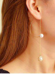 Single Faux Pearl Long Chain Earrings -