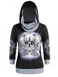 Plus Size Skull Print Graphic Gothic Hoodie -