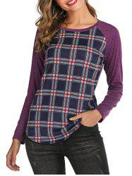 Plaid Raglan Sleeves Round Neck Tee -