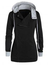 Plus Size Contrast Hooded Zippered Coat -