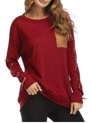 Lace Up Drop Shoulder Pocket Sweatshirt -