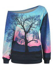 Plus Size Sunset Tree 3D Print Skew Neck Sweatshirt -
