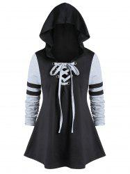 Plus Size Tunic Hooded Two Tone T Shirt -