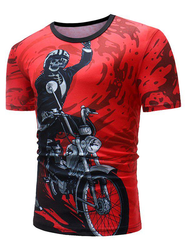 Sale Skeleton Motorcycle Paint Print Casual T-shirt
