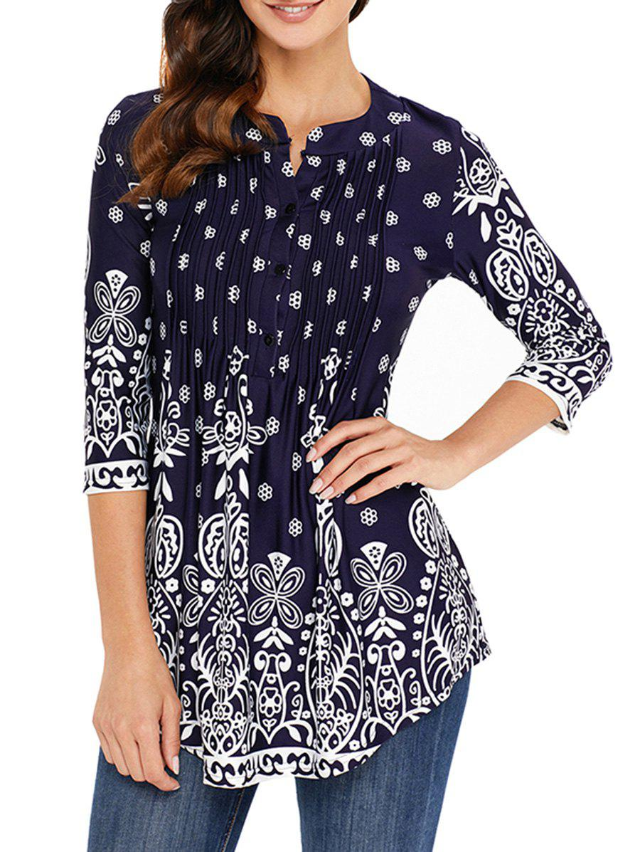 Outfits Pleated Placket Printed Tunic Top