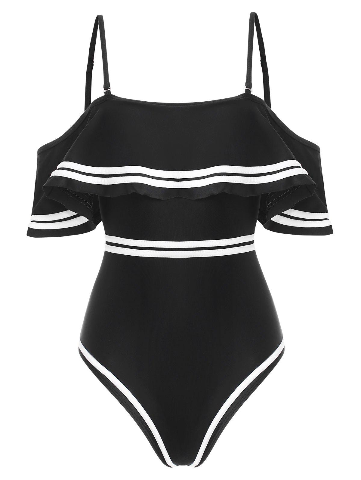 Shops Contrast Piping Flounce Padded One-piece Swimsuit