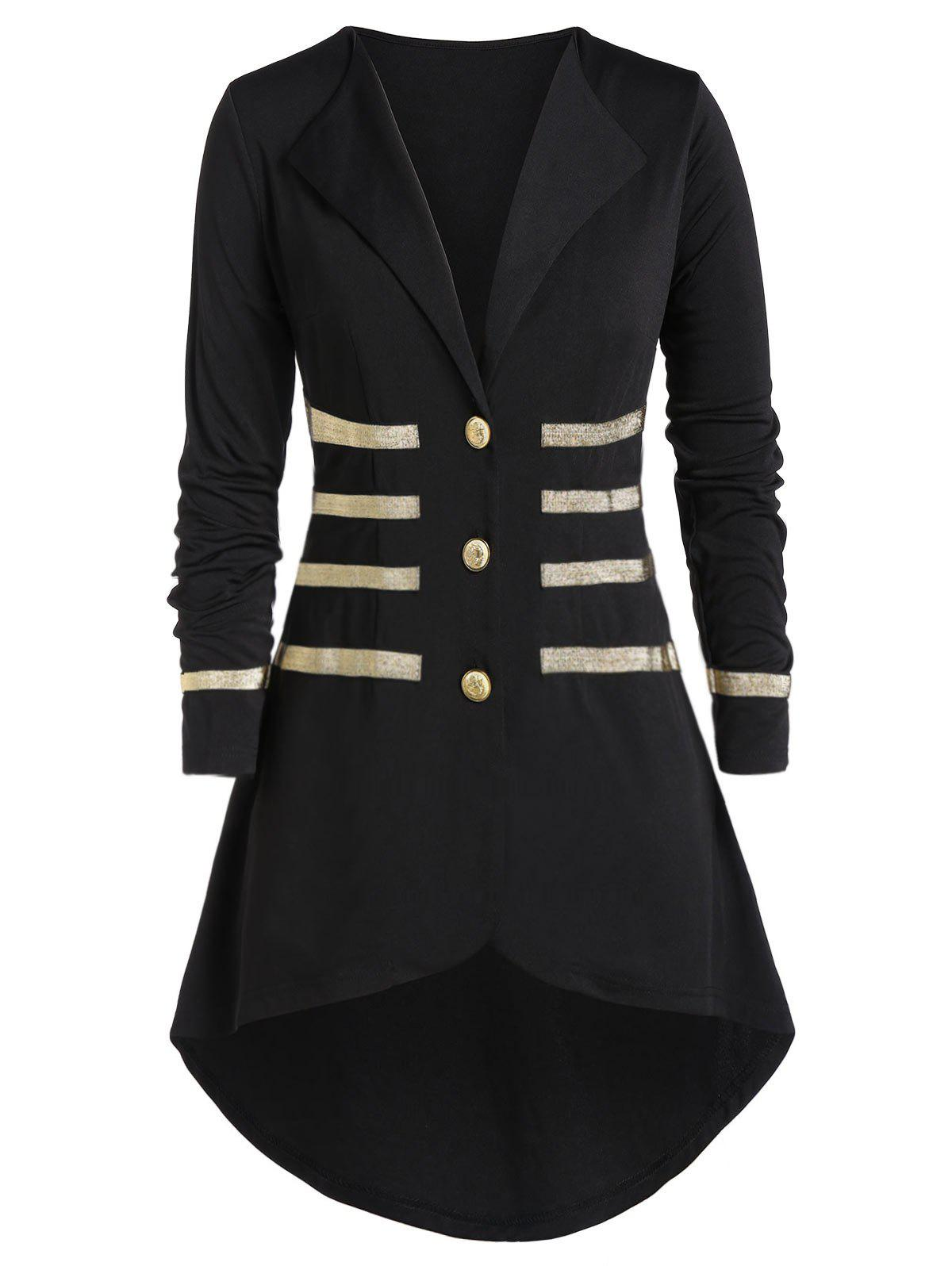 Unique Plus Size Contrast Lapel Button Coat