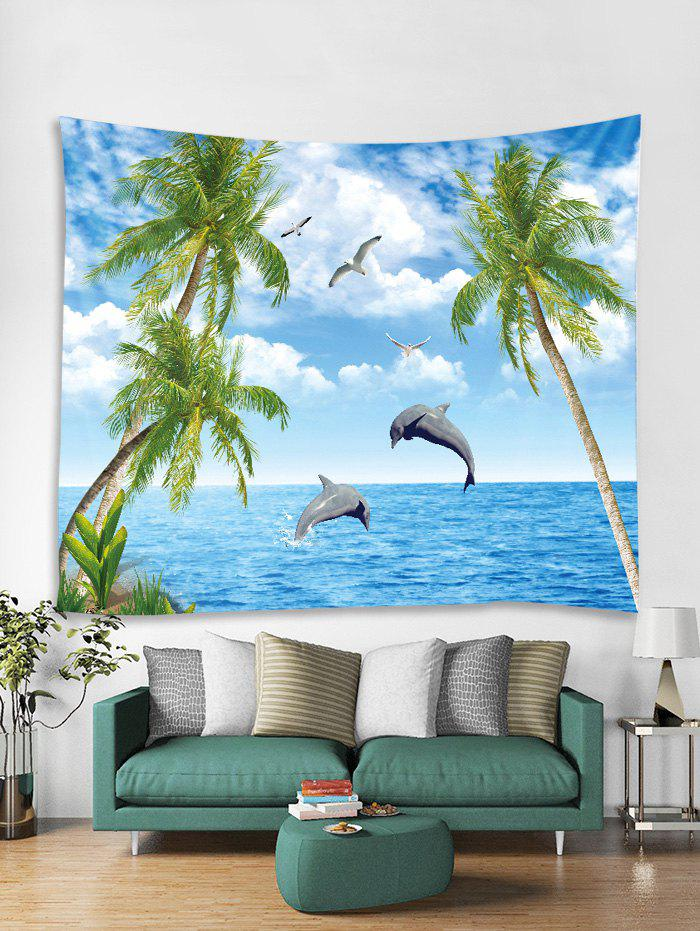 Affordable Seaside Dolphin Tree 3D Print Wall Tapestry