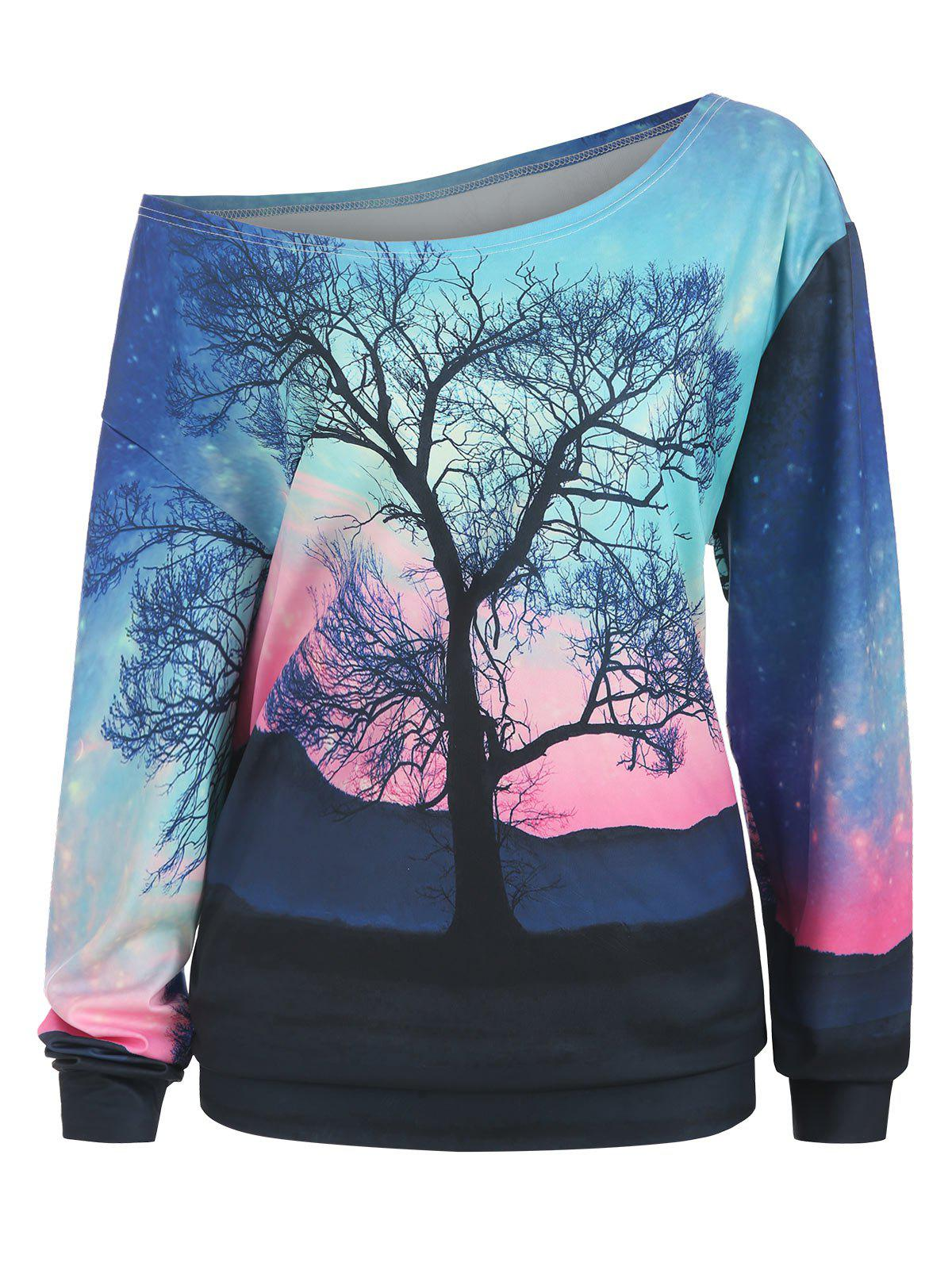 Sweat-shirt col rond à grande taille Sunset Tree Sunset Noir 1X