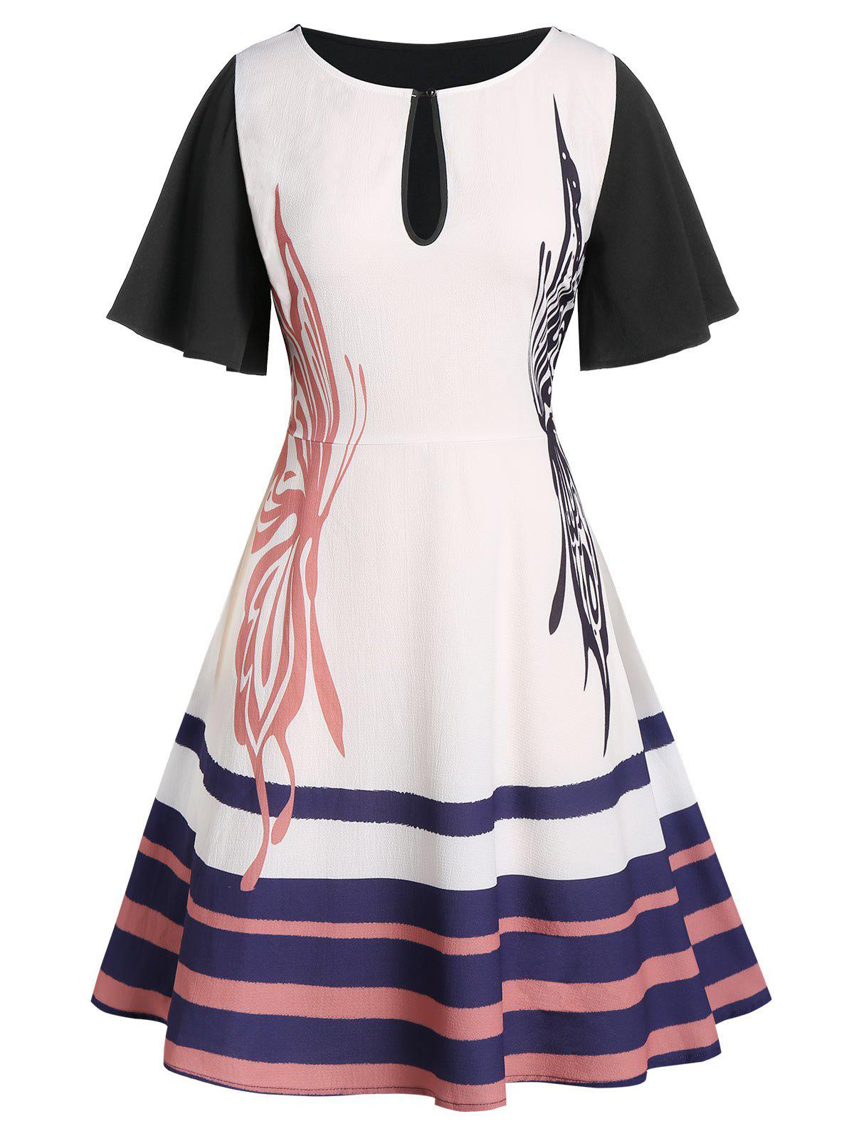 Outfits Plus Size Butterfly Print Keyhole Striped Flare Dress