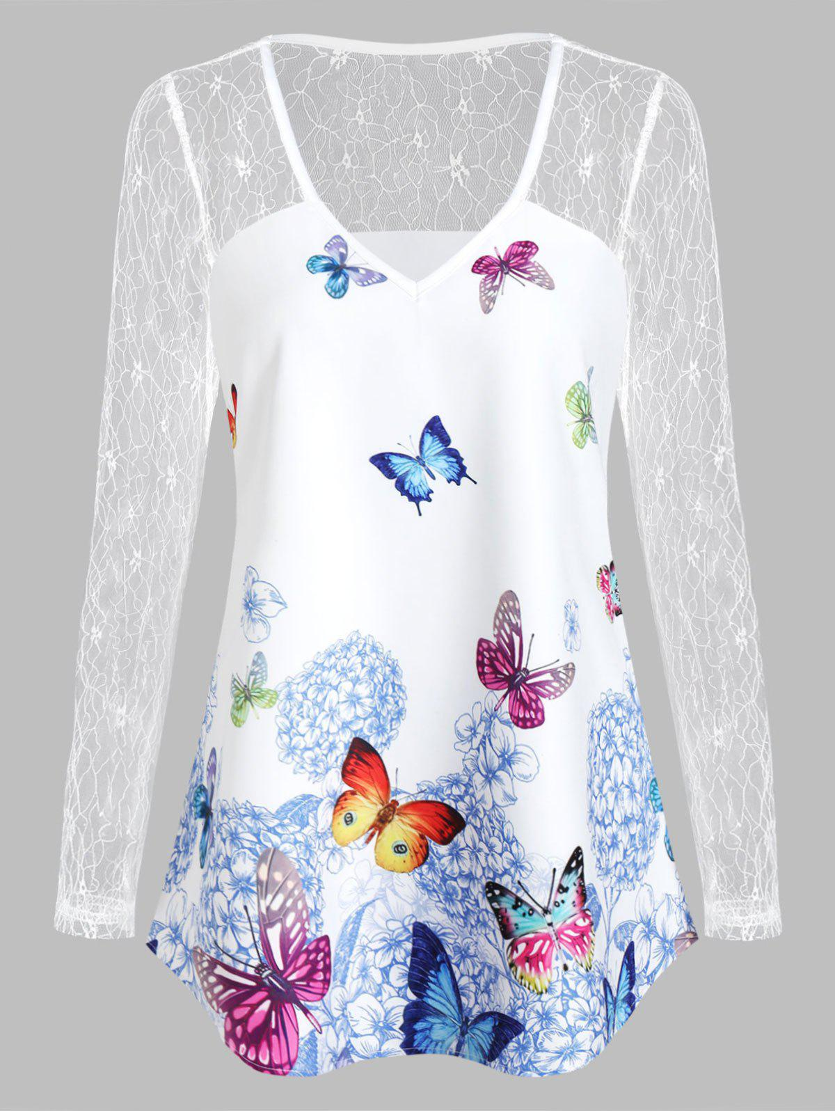 Shop Butterfly Print V Neck See Thru T Shirt