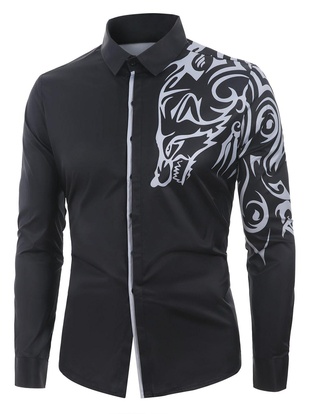 Online Casual Print Button Up Long Sleeves Shirt
