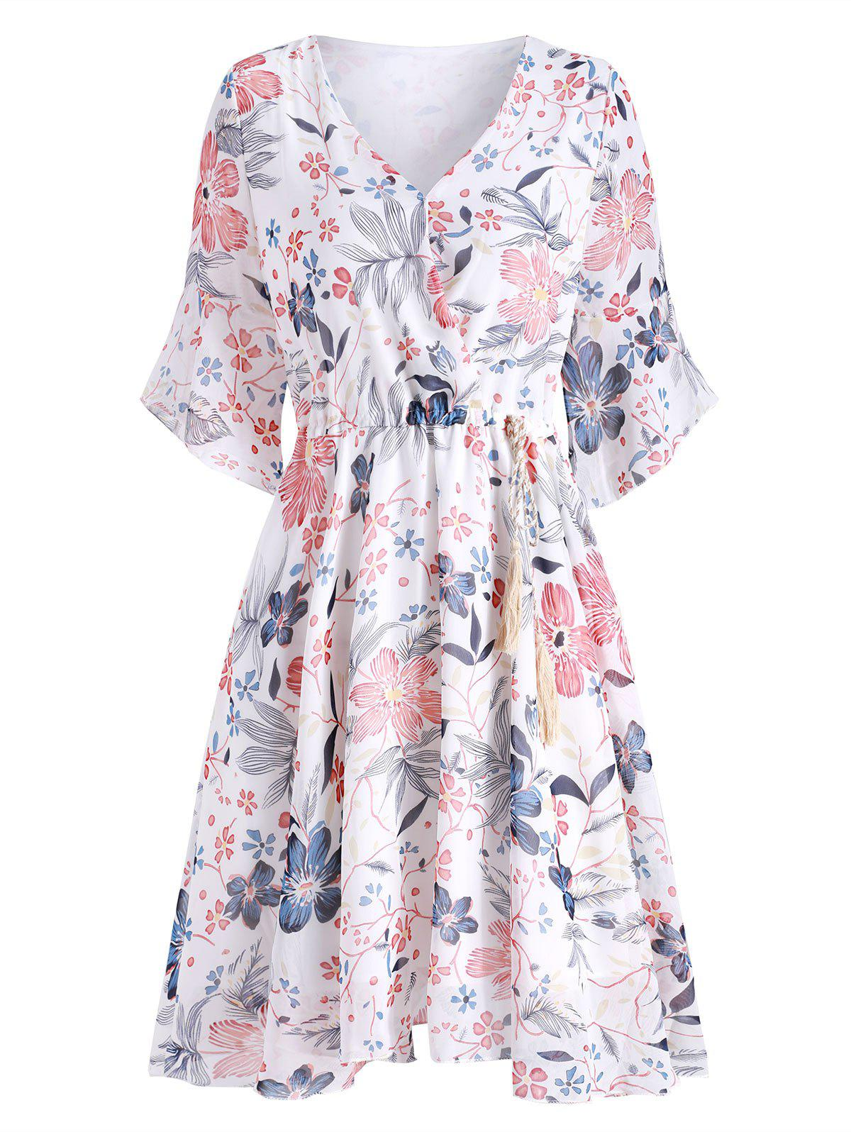 Outfit Floral Flare Sleeve Chiffon Dress