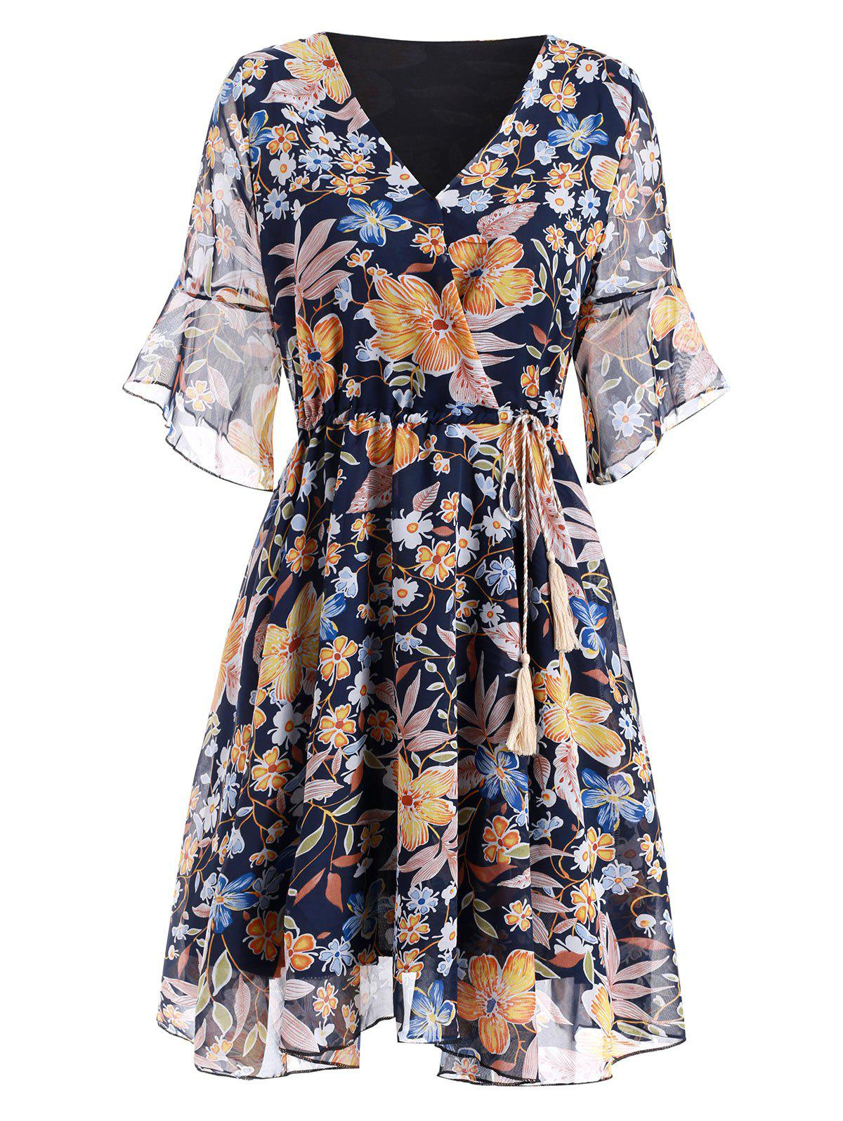Online Floral Flare Sleeve Chiffon Dress