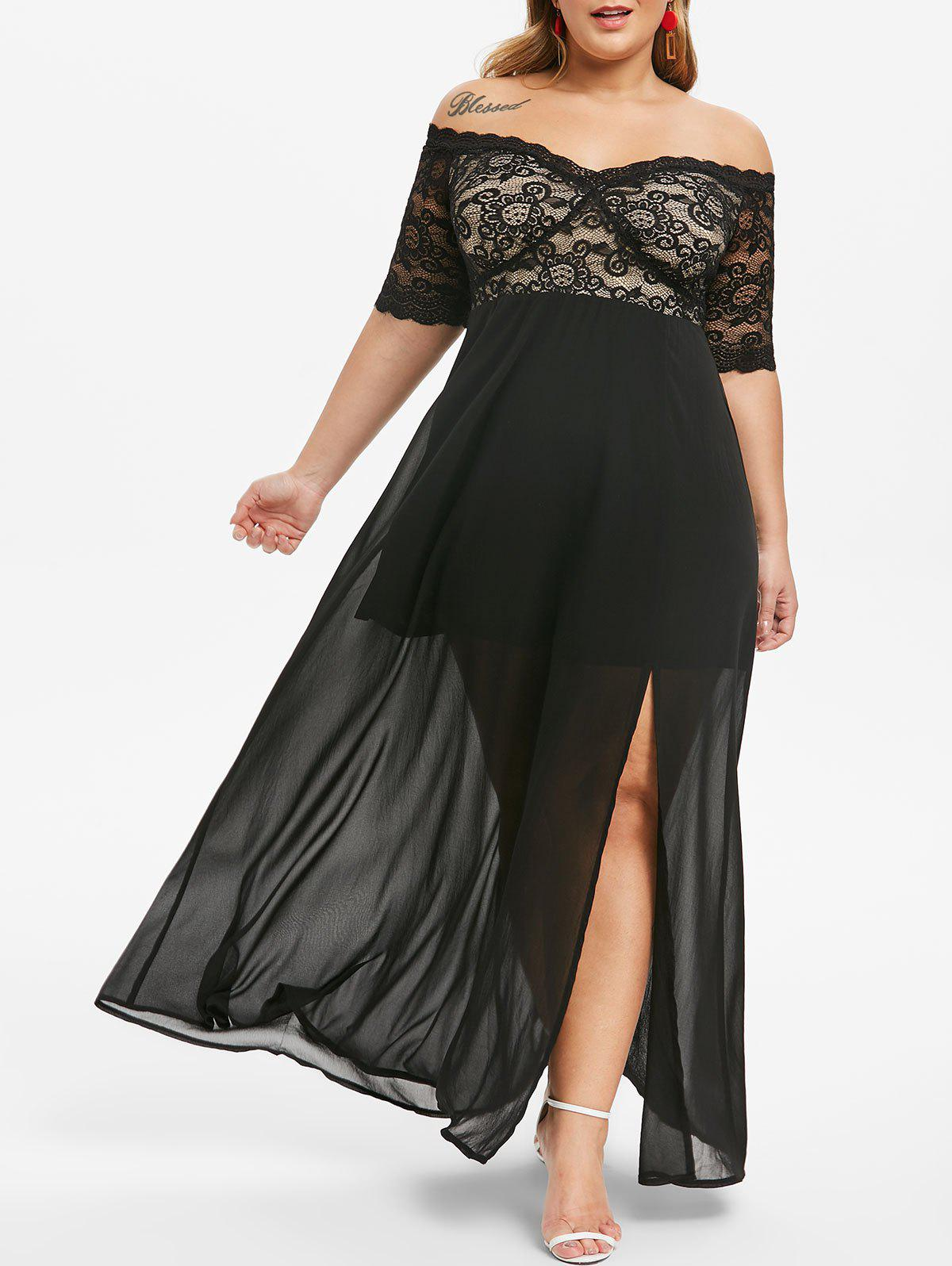 Sale Plus Size Lace Panel Slit Off Shoulder Prom Dress