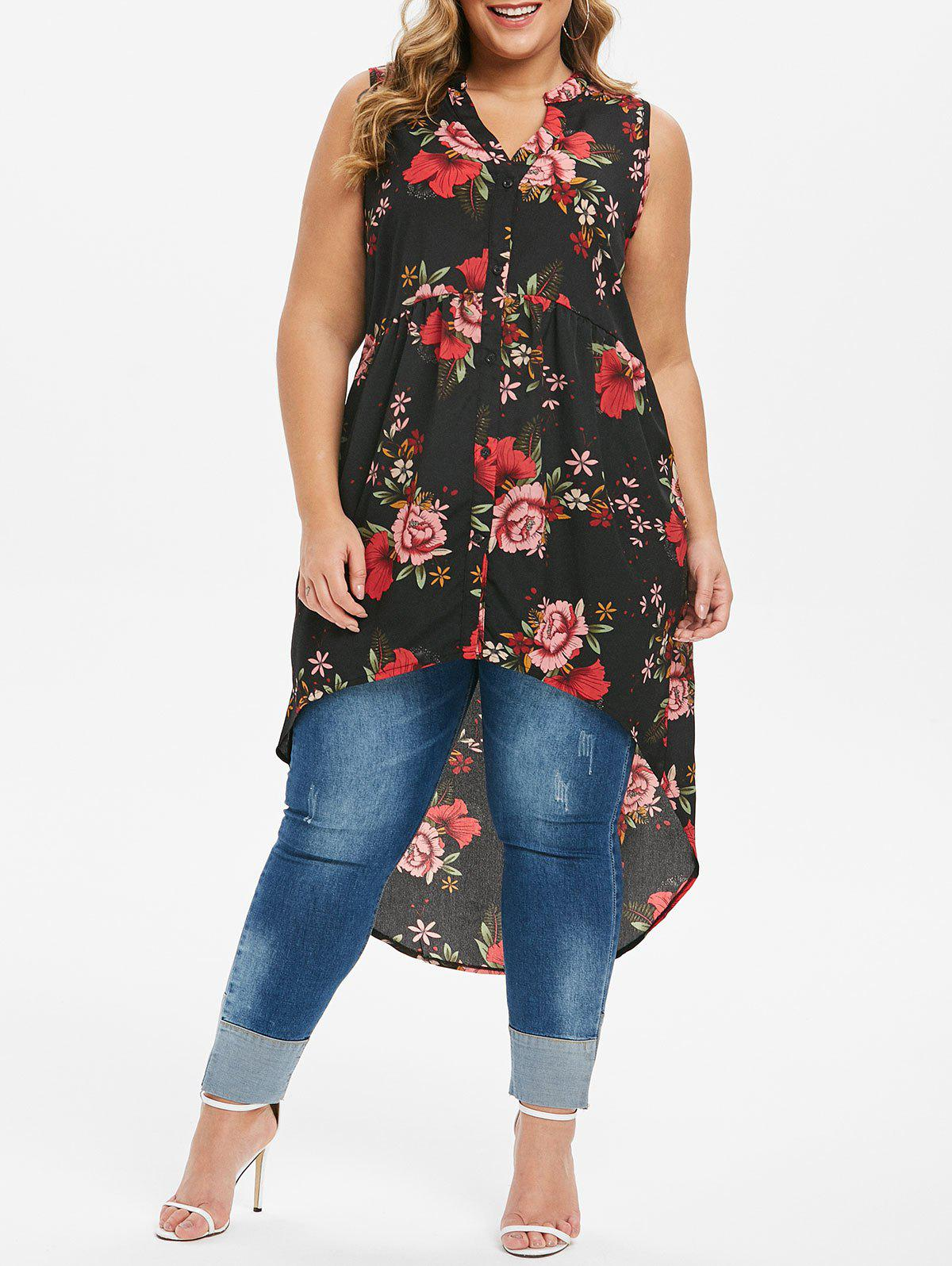 Latest High Low Button Up Floral Plus Size Blouse