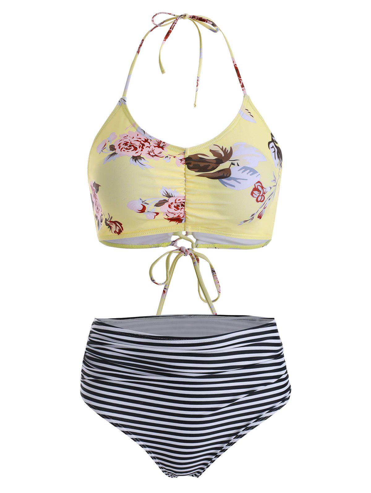 Outfit Ruched Floral Striped Lace-up Halter Bikini Swimsuit