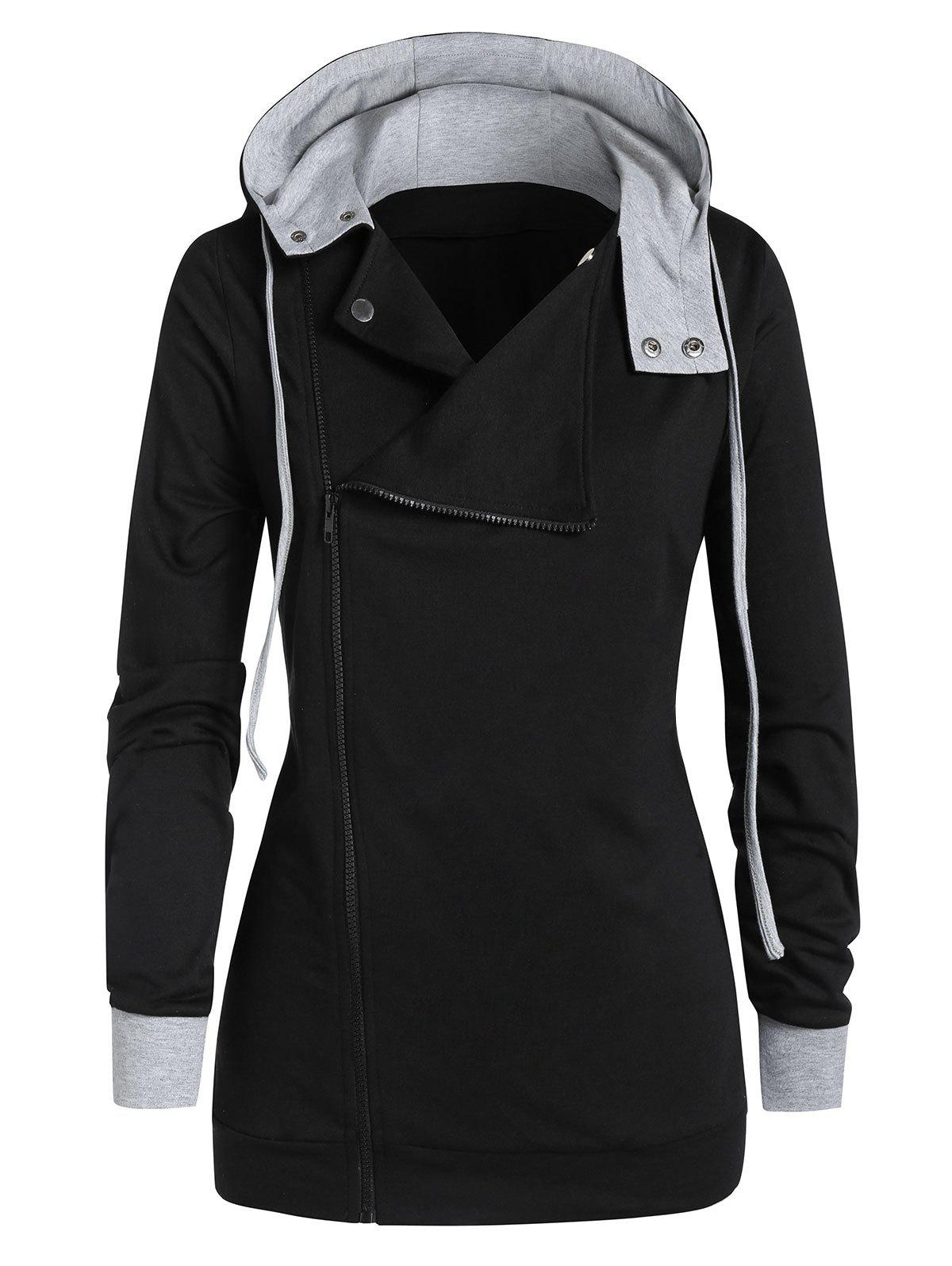 Fashion Plus Size Contrast Hooded Zippered Coat