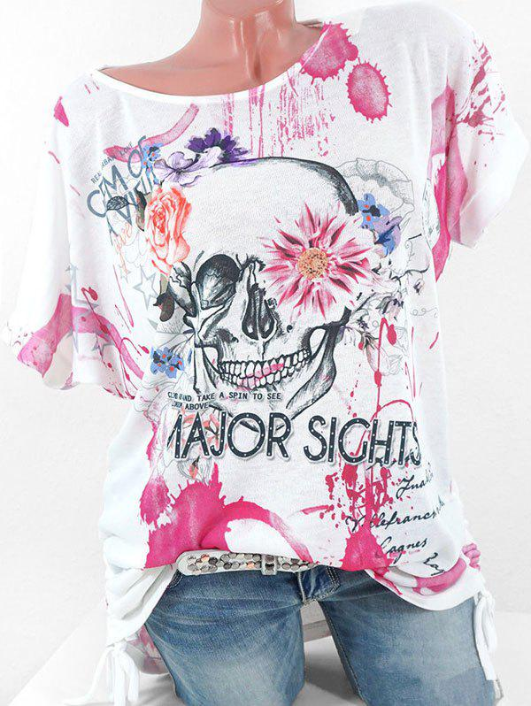 Latest Plus Size Cinched Floral Skull Print Graphic T-shirt